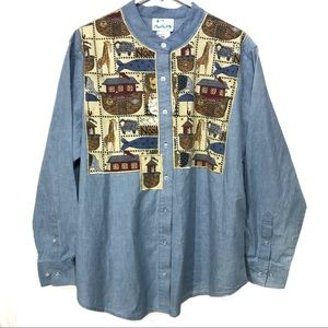 Quacker Factory chambray Noah's ark blouse 1X